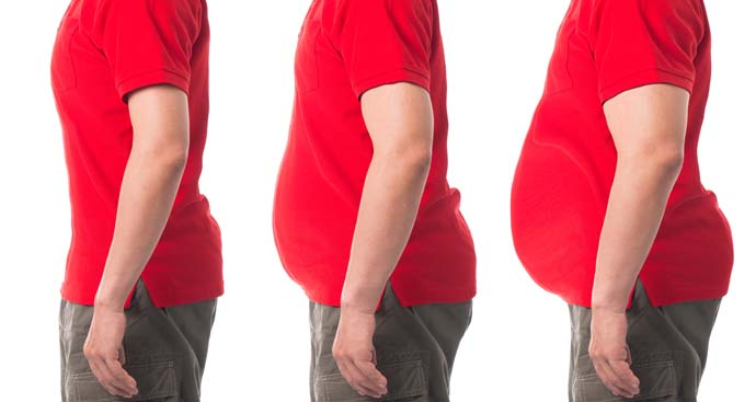 three profile images of the middle section of a weight loss patient showing the patients body slimming over time