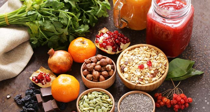 healthy foods on a table as part of a healthy weight loss program